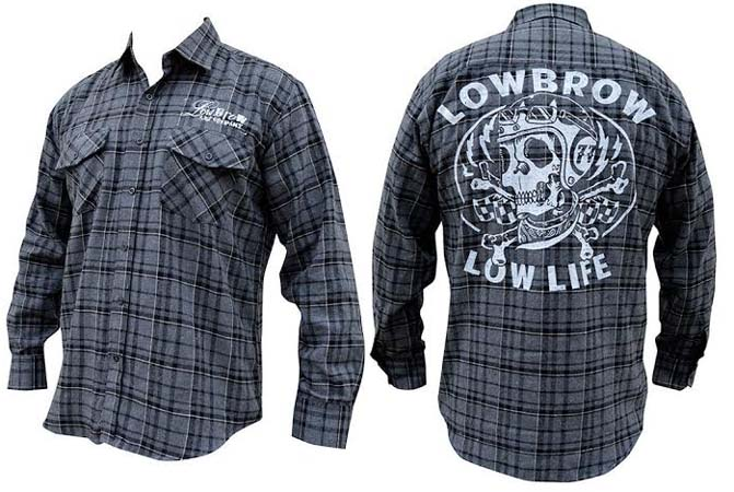 Low Life guys button up flannel black/grey plaid shirt by Low Brow Art Company - artwork by Adi - SALE sz M only