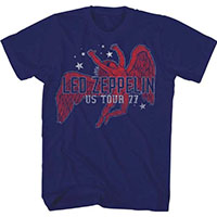 Led Zeppelin- US Tour 77 on a navy ringspun cotton shirt
