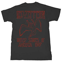 Led Zeppelin- United States Of America 1977 on a black ringspun cotton shirt