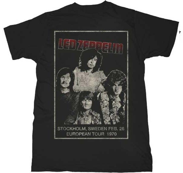 Led Zeppelin- Stockholm 1970 on a black ringspun cotton shirt
