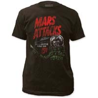 Mars Attacks- Space Adventure on a charcoal ringspun cotton shirt