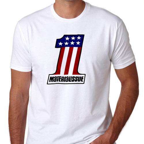 Material Issue- Knievel Logo on a white ringspun cotton shirt (Sale price!)