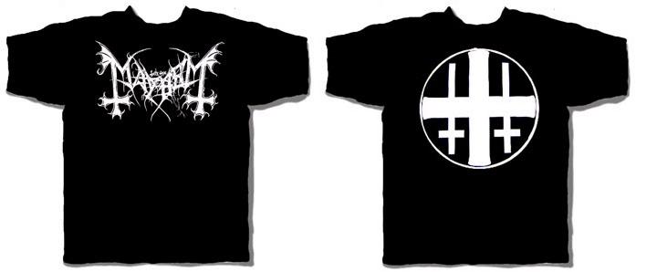 Mayhem- White Logo on front, Symbol on back on a black shirt