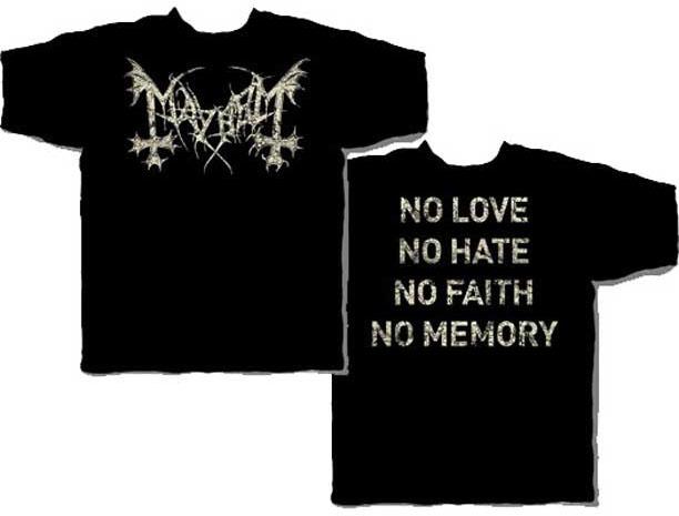 Mayhem- Distressed Logo on front, No Love on back on a black shirt