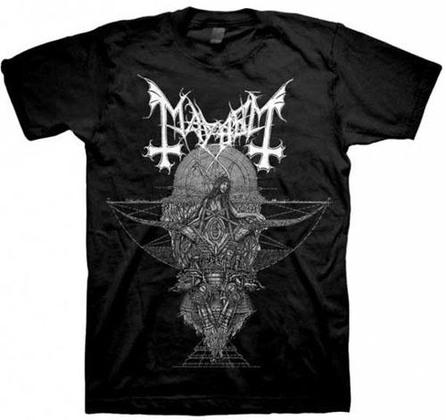 Mayhem- Trinity on a black shirt