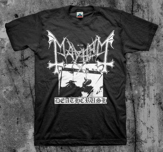 Mayhem- Deathcrush on a black shirt