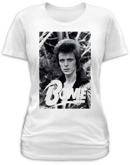 David Bowie- Classic Pic on a white girls fitted shirt by Goodie Two Sleeves (Sale price!)