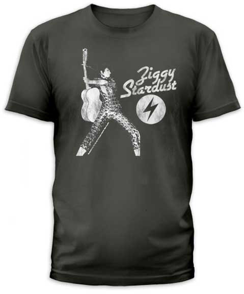 David Bowie- Ziggy Stardust on a charcoal ringspun cotton shirt by Goodie Two Sleeves (Sale price!)