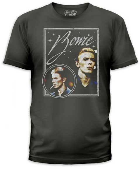 David Bowie- Vision on a charcoal ringspun cotton shirt by Goodie Two Sleeves (Sale price!)