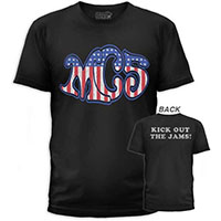MC5- Logo on front, Kick Out The Jams on back on a black ringspun cotton shirt by Goodie Two Sleeves (Sale price!)