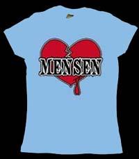 Mensen- Broken Heart on a light blue girls fitted shirt (Sale price!)