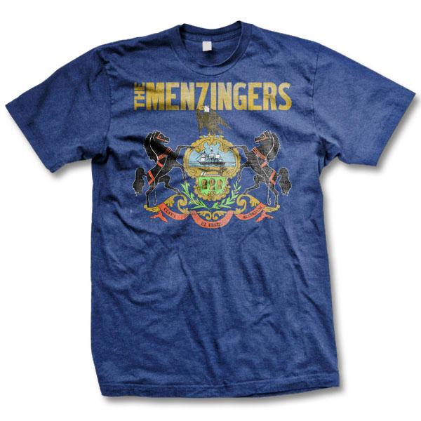 Menzingers- PA Flag on a navy ringspun cotton shirt