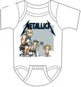 Metallica- Tattoo on a white one piece snap bottom baby shirt (S=0-6 mo, M=6-12 mo, L=12-18 mo, XL=18-24 mo) (Sale price!)