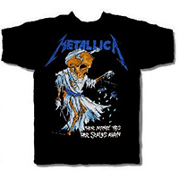 Metallica- Their Money Tips Her Scales Again on front, Skull on back on a black shirt