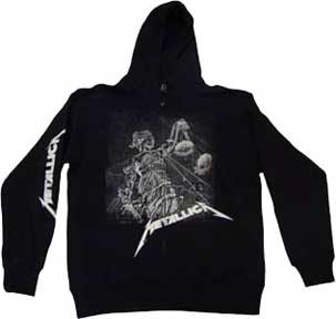 Metallica- And Justice For All (White Design) on front, Logo on sleeve on a black zip up hooded sweatshirt (Sale price!)