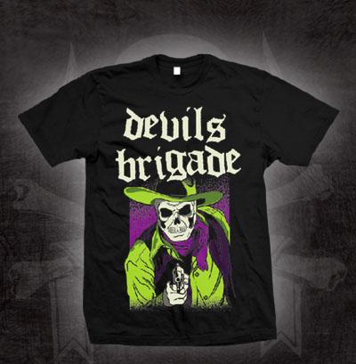 Devils Brigade- Green Gunslinger on a black shirt (Sale price!)