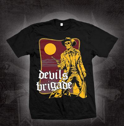 Devils Brigade- Yellow Vigilante on a black shirt (Sale price!)