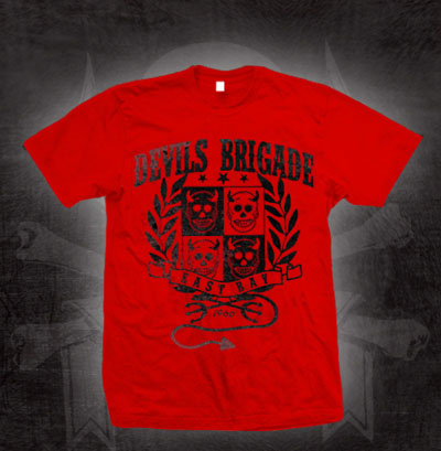 Devils Brigade- East Bay on a red shirt (Sale price!)