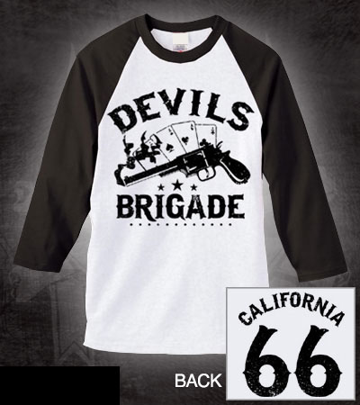 Devils Brigade- Pistol on front, California on back on a white baseball shirt with 3/4 black sleeves