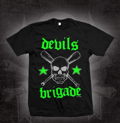 Devils Brigade- Skull & Crossed Bats on a black shirt (Sale price!)