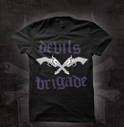 Devils Brigade- Pistols on a black girls fitted shirt (Sale price!)