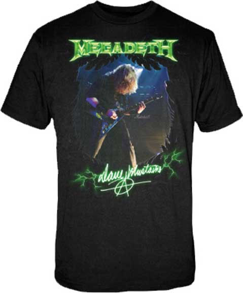 Megadeth- Dave Mustaine on a black shirt