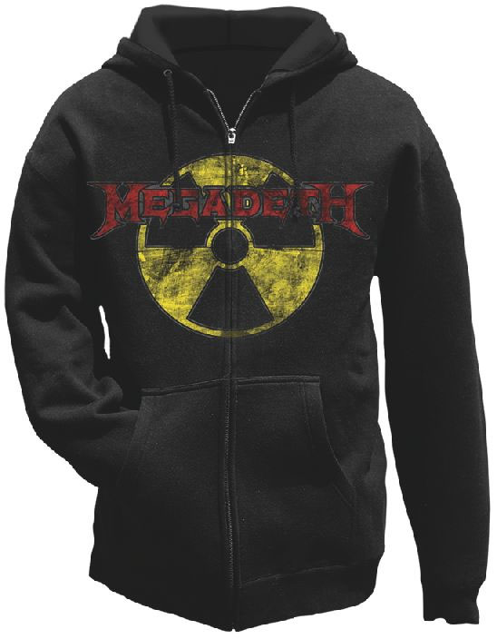 Megadeth- Radioactive on a black zip up hooded sweatshirt