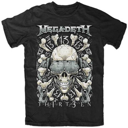 Megadeth- Th1rt3en (Skull & Bones) on a black shirt