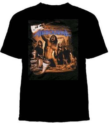 Airbourne- No Guts No Glory on a black ringspun cotton shirt (Sale price!)