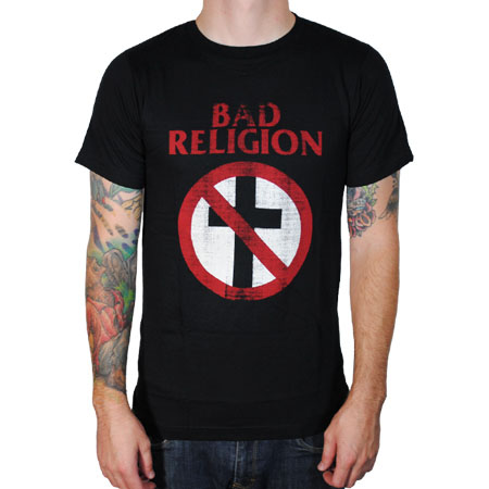Bad Religion- Distressed Crossbuster on a black shirt