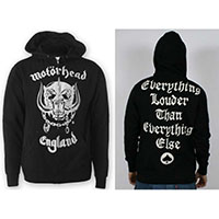 Motorhead- England on front, Everything Louder Than Everything Else on back on a black zip up hooded sweatshirt