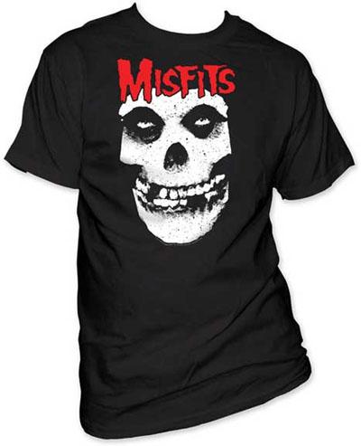 Misfits- Red Logo Above Skull on a black shirt