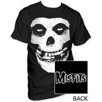 Misfits- Skull (Distressed Print) on front, Logo on back on a black shirt