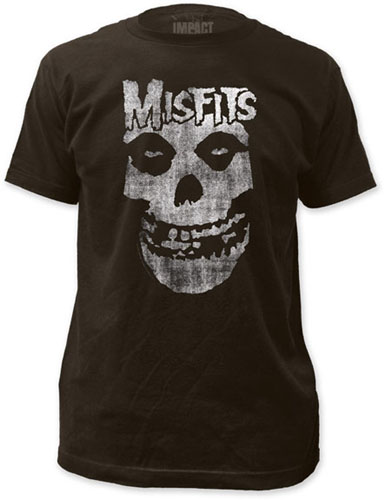 Misfits- Distressed Logo & Skull on a charcoal ringspun cotton shirt