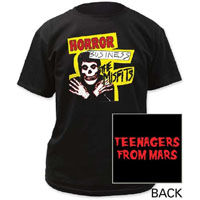 Misfits- Horror Business on front, Teenagers From Mars on back on a black shirt