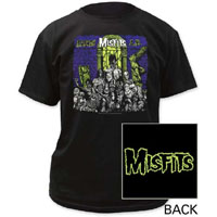 Misfits- Earth AD (Dark Purple Background) on front, Logo on back on a black shirt