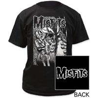 Misfits- Evil Eye on front, Logo on back on a black shirt