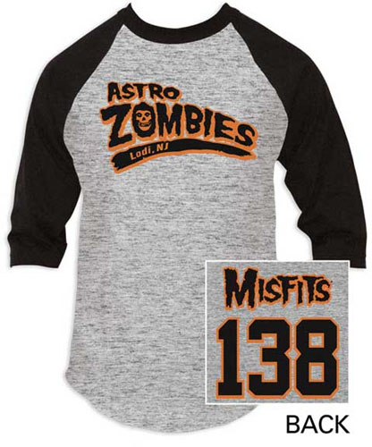 Misfits- Astro Zombies on front, 138 on back on a grey baseball shirt with black 3/4 length sleeves