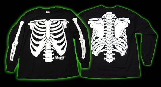 Misfits- Glow In The Dark Skeleton Print on front, back, and sleeves on a black long sleeve shirt