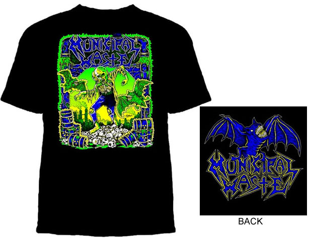 Municipal Waste- Gaither on front, Logo on back on a black shirt