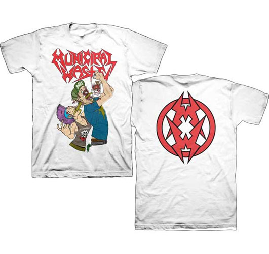 Municipal Waste- Shotgun on front, Symbol on back on a white shirt
