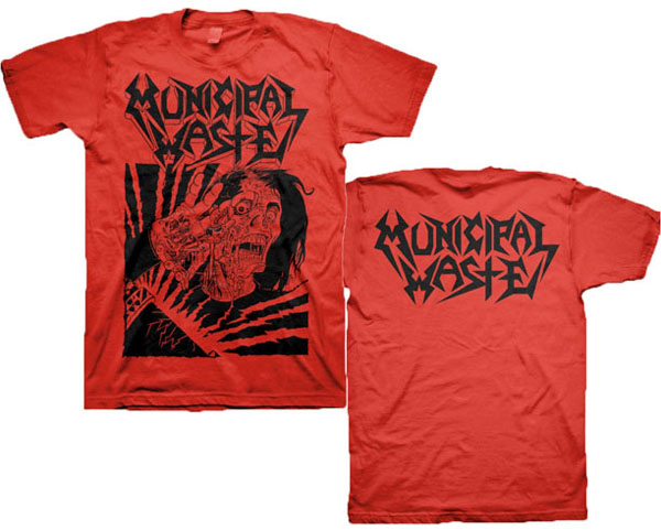 Municipal Waste- Skelbot on front, Logo on back on a red shirt