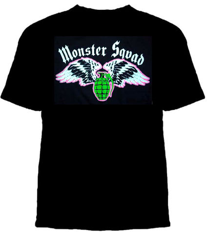 Monster Squad- Grenade And Wings on a black YOUTH SIZED shirt (Sale price!)