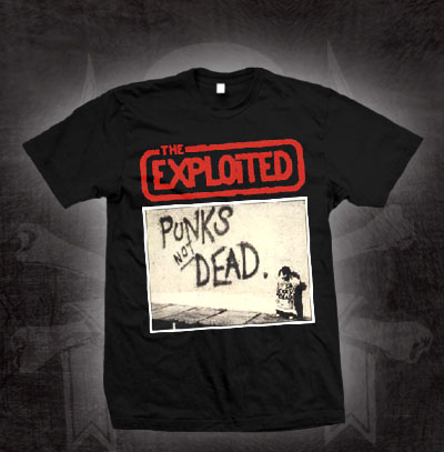 Exploited- Punk's Not Dead (Grafitti) on a black shirt (Sale price!)