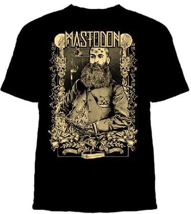 Mastodon- Beard Guy With Border on a black ringspun cotton shirt