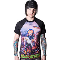 Mars Attacks- B-Movie Babe on guys raglan shirt by Kreepsville 666 - SALE sz 2X only