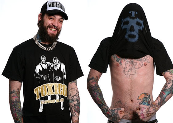 Tag Team Lucha Libre Wrestlers on a black shirt by Toxico (With Mask Printed On Inside!) - SALE sz Sm only