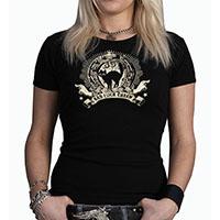 Lucky Mule Brand- Bad Luck Charm on a black spaghetti strap girls shirt