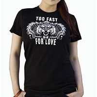 Lucky Mule Brand- Too Fast For Love on a black girls fitted shirt (Sale price!)