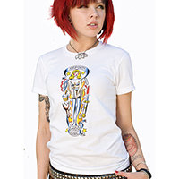Lucky Mule Brand- Reform School Girl on a white girls fitted shirt (Sale price!)